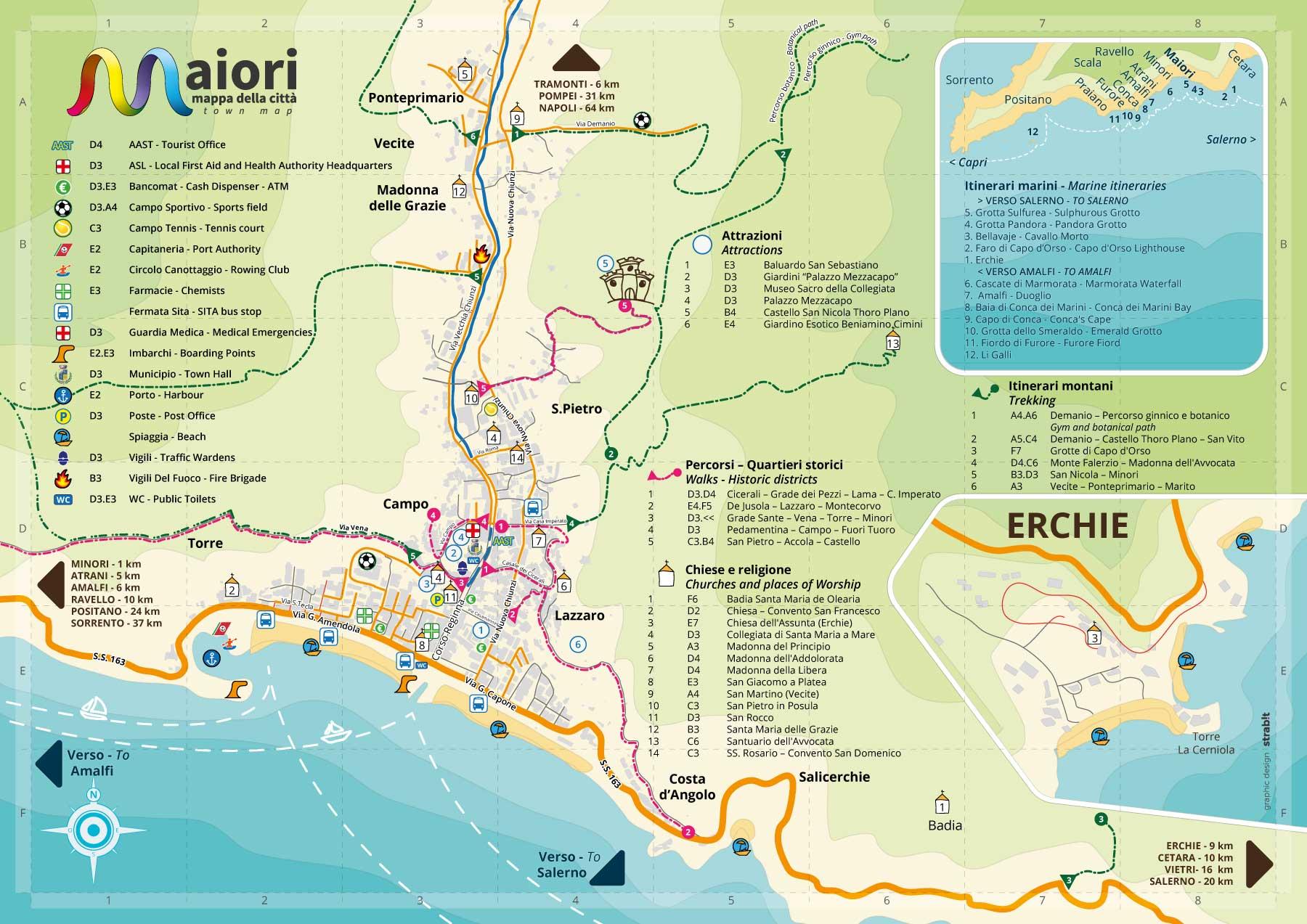 Tour Costiera Amalfitana Cartina.Cartina Di Maiori Costa D Amalfi Strab It